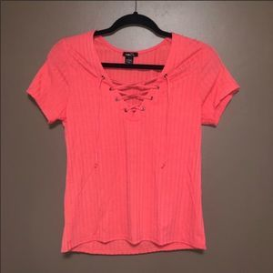 3 for $20 Lace Up ribbed T shirt coral size large